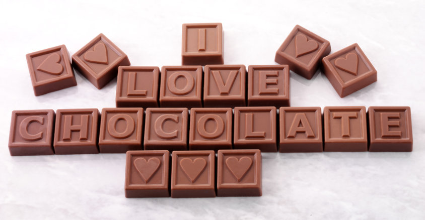 chocolate engraved company logo